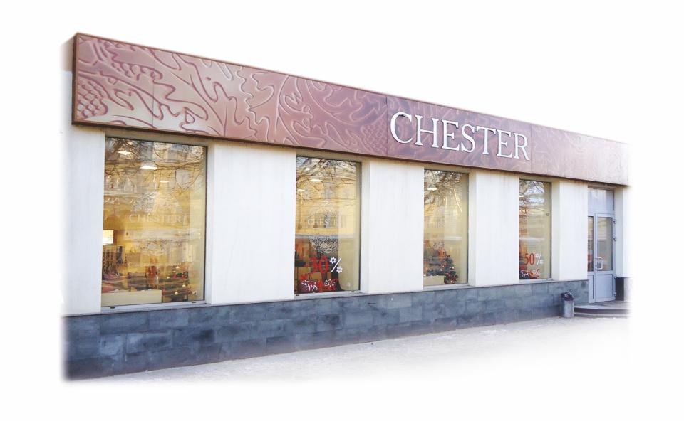 Салон обуви Chester. ул.Плехановская. Композитная световая панель с полноцветной печатью, инкрустированная акрилом. Наклейки на окнах выполнены из пленки ORACAL.
